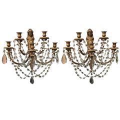 Pair of French Early 20th Century Beautiful Old Gold Sconces with Crystal Prisms