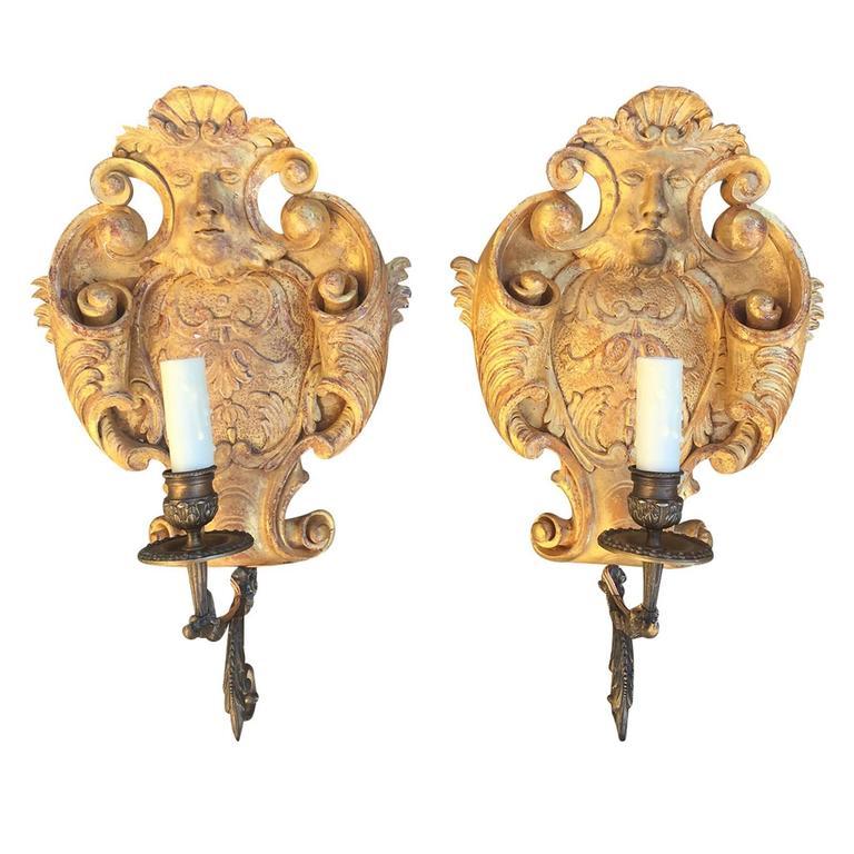 20th Century Giltwood Brass Single Arm Sconces