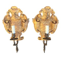 20th Century Giltwood Brass Single Arm Sconces