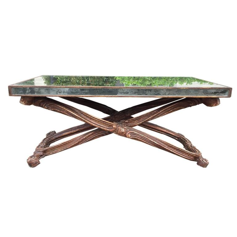 Early to Midcentury Italian Mirrored Coffee Table in the Style of Jansen