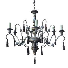 20th Century Italian Wood and Iron Chandelier with Tassels