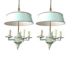 Pair of Hanging Bouillote Chandeliers, Probably Italian, circa 1950s