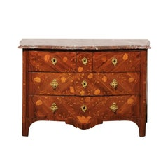 Mid-20th Century Regency Marquetry Marble Commode