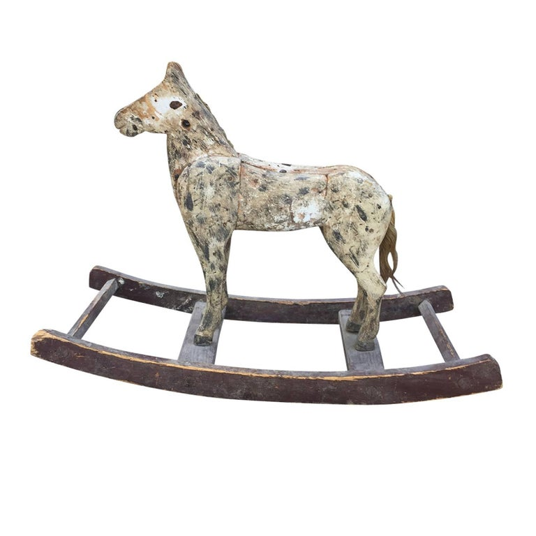 19th Century Primitive American Folk Art Rocking Horse For Sale