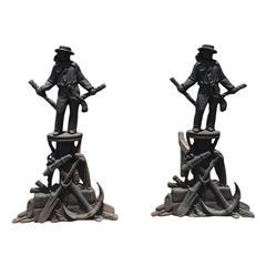 19th Century English Iron Sailor Andirons with Nautical Motifs