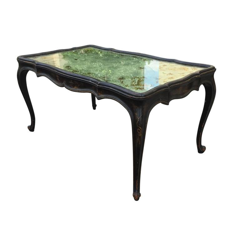 1940s Italian Chinoiserie Coffee Table Glomis Mirrored Top For Sale At 1stdibs
