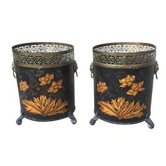 Pair of 19th Century Regency Tole Cachepots