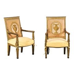 Pair of 18th-19th Century French Empire Giltwood Needlepoint Back Armchairs