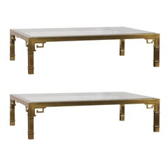 Pair of Mastercraft Chinese Polished Brass Greek Key Coffee Tables,  circa 1970s