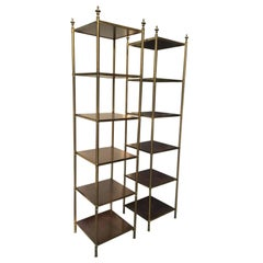 20th Century Tall Brass and Wood Six-Shelves Etageres with Urn Finials