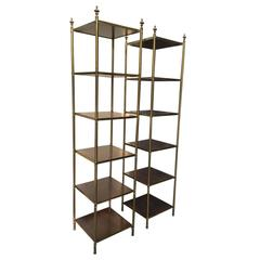 20th Century Tall Brass and Wood Etageres, Urn Finials, Six Shelves