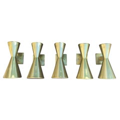 Set of Five Mid-Century, circa 1950s Gold Wall Sconces, Attributed to Lightolier