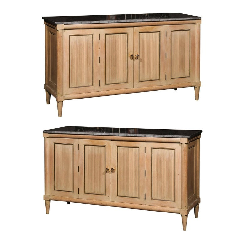 Pair Of American Mid Century Marble Top Long Cabinets