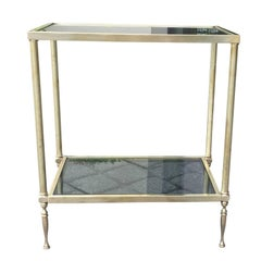 Mid-Century Brass and Glass Two-Tier Side Table