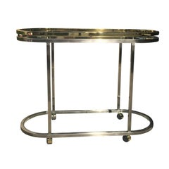 Mid-Century Brass and Steel Oval Bar Cart with Glass Top