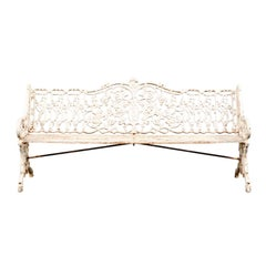 19th Century English Painted Iron Garden Bench, Old Surfaces