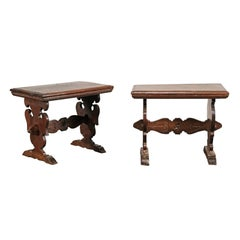 Pair of 20th Century Walnut Continental Side Tables on Carved Trestle Leg Base