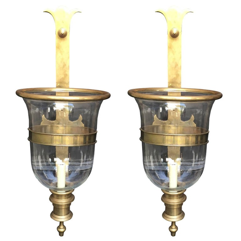 Pair of Mid-Century Chapman Hurricane Wall Sconces, Marked at 1stdibs