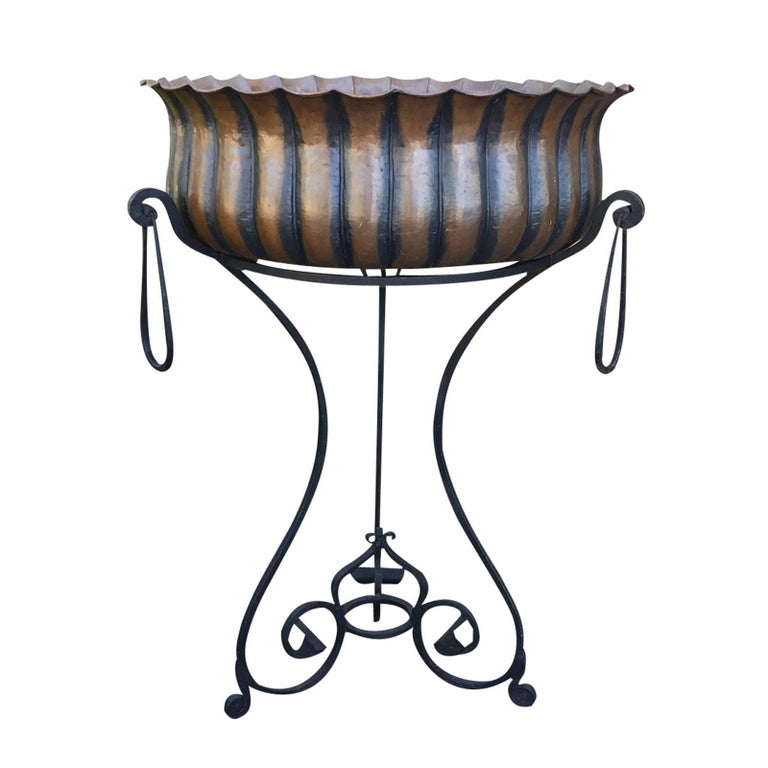 20th Century Italian Planter on Stand, Marked