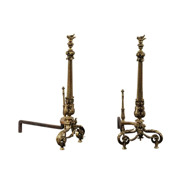 Early 20th Century Bronze Andirons with Flame Finials