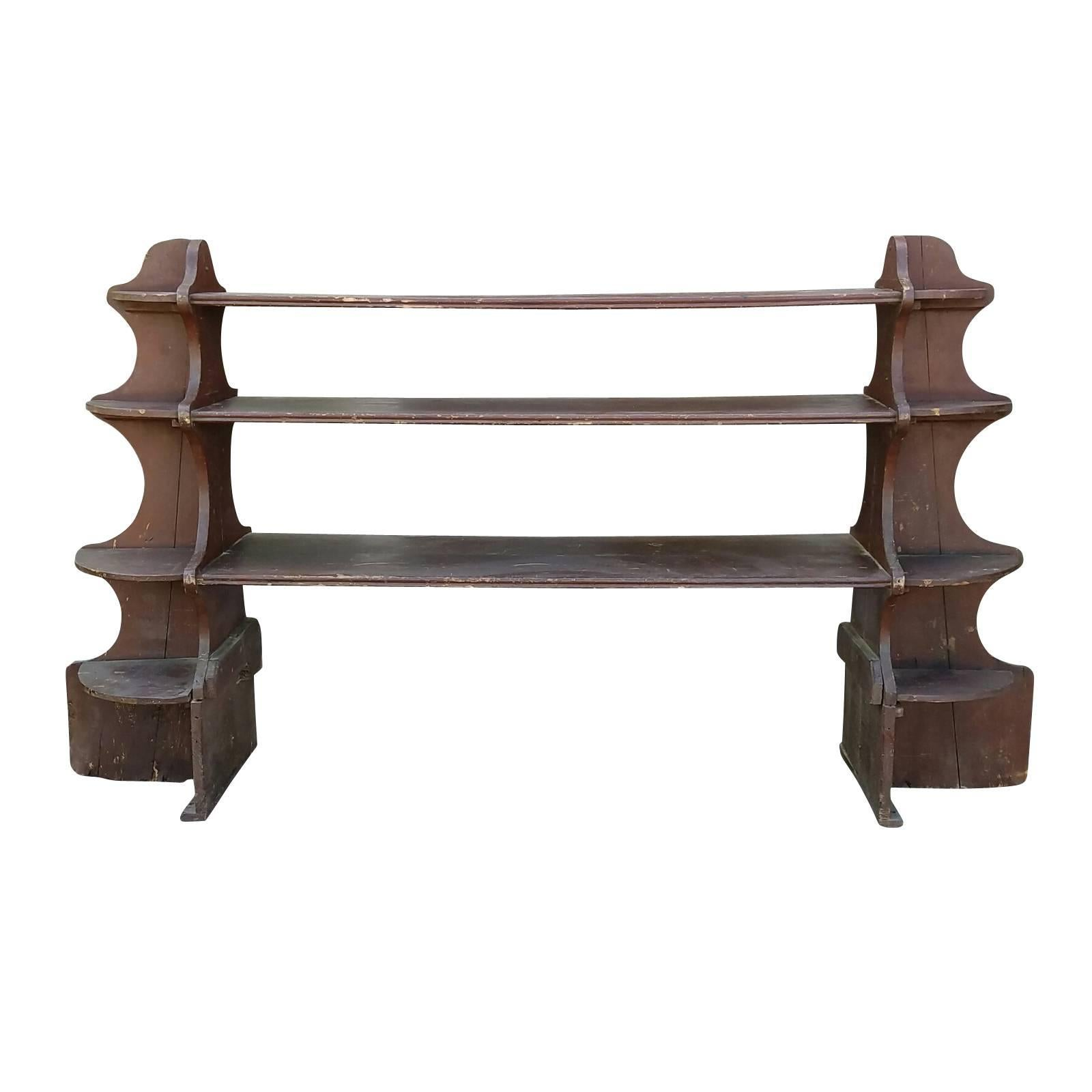 19th Century French Wooden Display Shelf