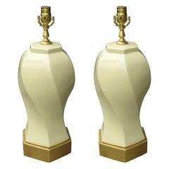 Pair of Midcentury Porcelain Lamps on Custom Bases