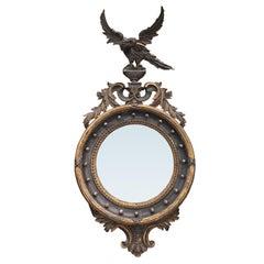 Period 19th Century English Regency Convex Mirror with Eagle