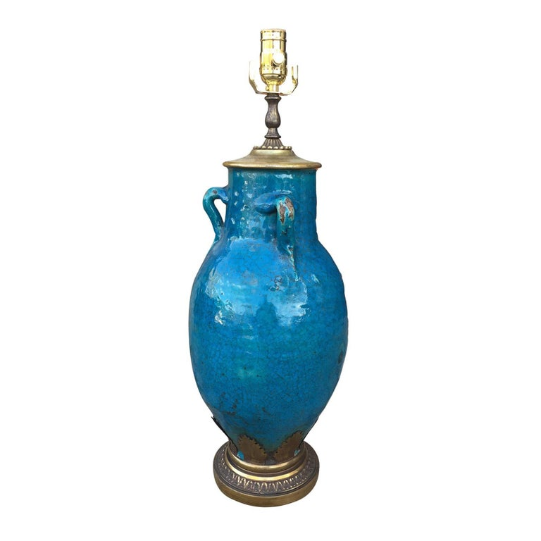 Incredible Late 19th/Early 20th Century French Blue Pottery Lamp