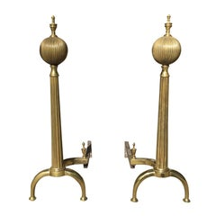20th Century Tall Brass Andirons with Melon Finial