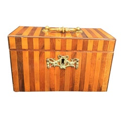 Early George III Harewood and Mahogany Inlaid Tea Caddy