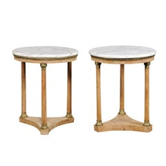 Pair of 20th Century Italian Empire Style Marble-Top Tables, Bleached