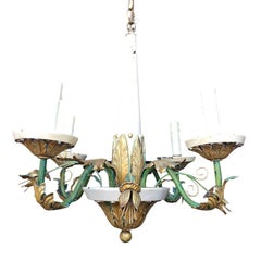 20th Century Probably Italian Tole & Giltwood Four-Arm Painted Chandelier