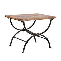 Early 20th Century Iron Side Table with Marble Top