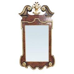 George II Style Burled Walnut and Parcel Gilt Mirror, circa 1900