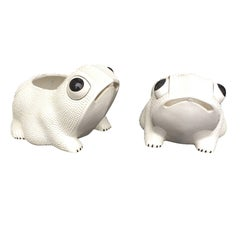 Pair of Large, 20th Century Italian White Glazed Frogs Marked, 'Italy'