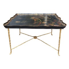 19th/20th Century Scalloped Paper Mache Chinoiserie Tray Top Table