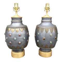 Pair of Midcentury Italian Pewter Lamps with Stone and& Brass, Custom Bases