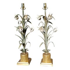 Pair of Italian Tole Tulip Lamps, Gilded Bases, circa 1950s