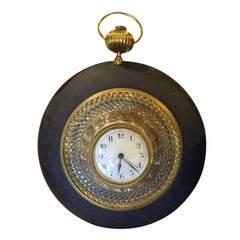 20th Century French Basalt Empire Style Crystal / Bronze Wall Clock