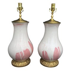 Pair of 20th Century White and Pink  Pottery Lamps, Custom Signed