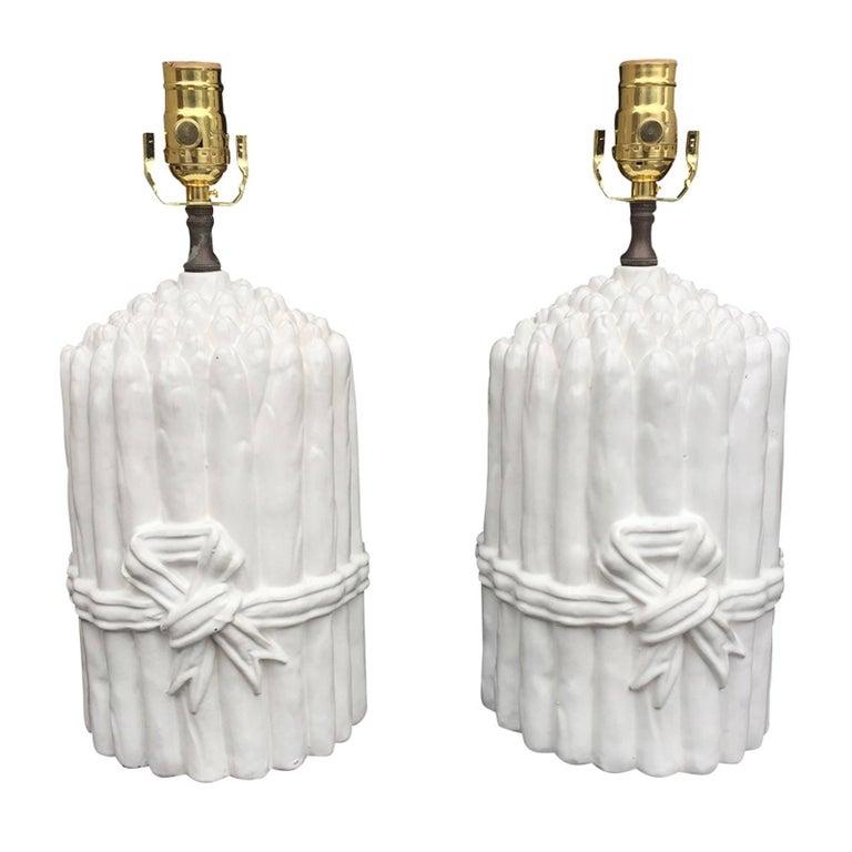 Pair of Mid Century Italian White Asparagus Lamps