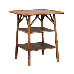 19th Century English Bamboo Three-Tier Table