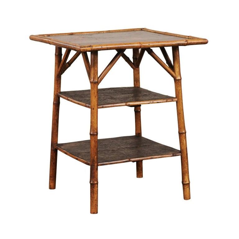 19th Century English Bamboo Three-Tier Table