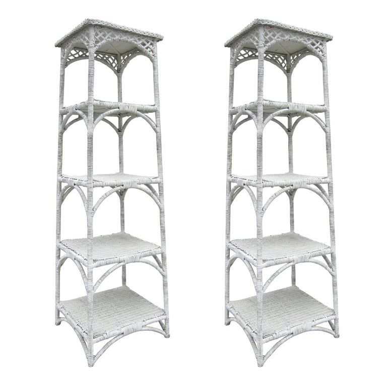 Pair of Midcentury White Wicker Étagères with Four Shelves