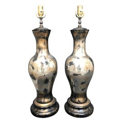 Pair of Midcentury Faux Tortoise Glass Lamps
