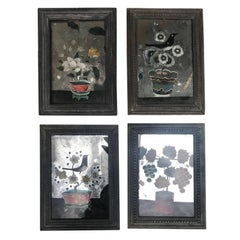 Set of Four Late 19th-Early 20th Century Chinese Reversed Mirror Paintings