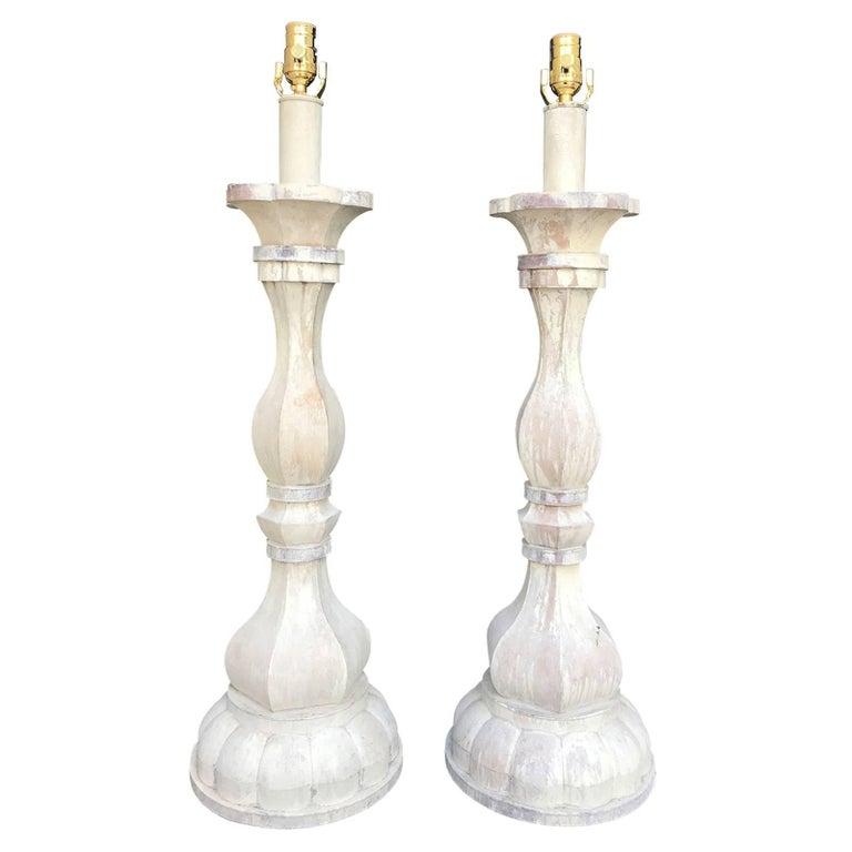 Pair of Midcentury Large Custom Tole Lamps