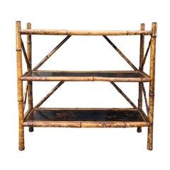 Small Three-Tier English Bamboo Bookcase, circa 1900