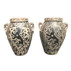Pair of 19th-20th Century Italian 'Florentine' Tin Glazed Earthenware Jars