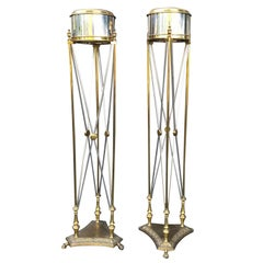 Pair of Midcentury Maison Jansen Directoire Style Torchere Plant Pedestals